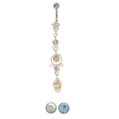 Belly Button Ring Surgical Steel Dangler Design with CZ Gems 14ga