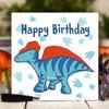 Blue Dinosaur Birthday Card - The Crafty Giraffe