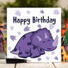 Purple Triceratops Birthday Card - The Crafty Giraffe