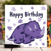 Purple Triceratops Birthday Card