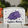 Personalised Purple Triceratops Money Box