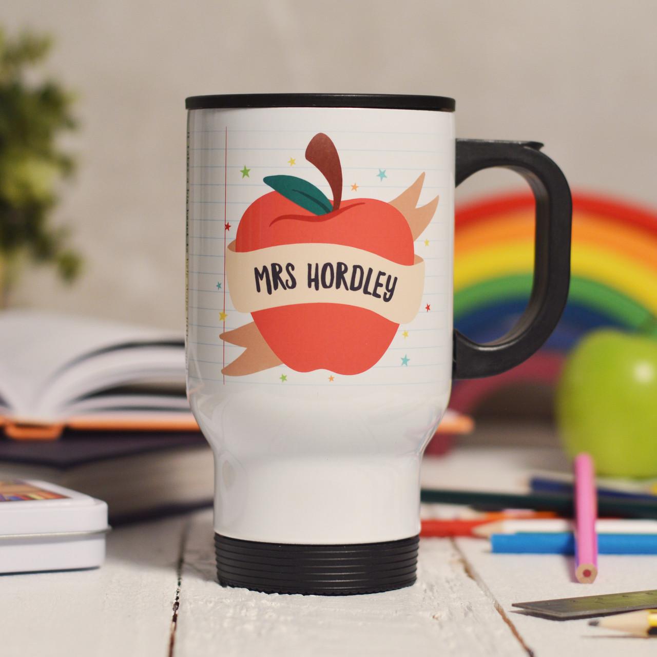 7028030787b Personalised Apple Teacher Travel Mug - The Crafty Giraffe