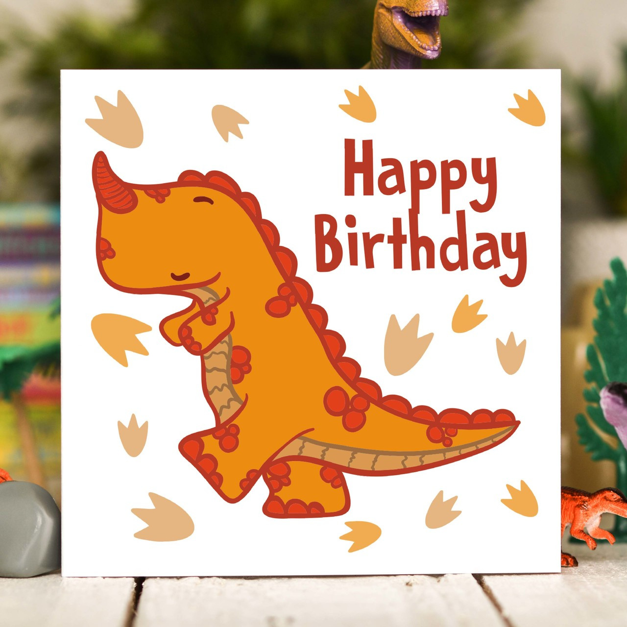 Orange T Rex Birthday Card