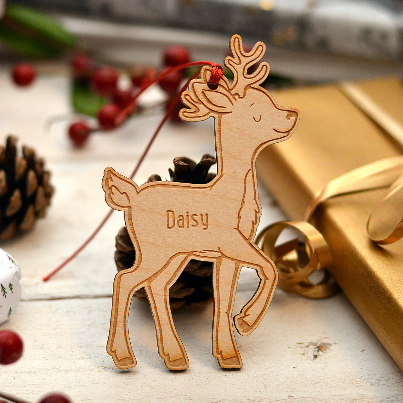Personalised Wooden Reindeer Decoration The Crafty Giraffe