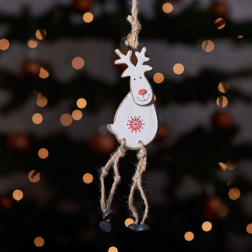 Hanging White Reindeer Decoration - The Crafty Giraffe