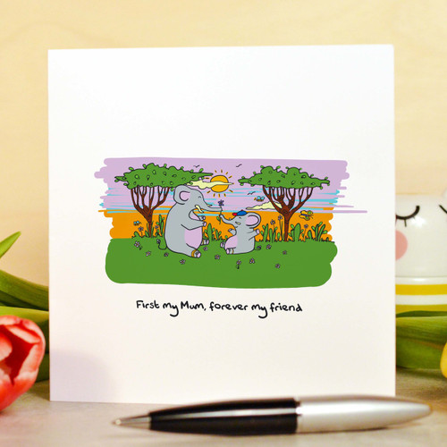 Buy First my Mum, forever my friend Card From The Crafty Giraffe, the home of unique and affordable gifts for loved ones...
