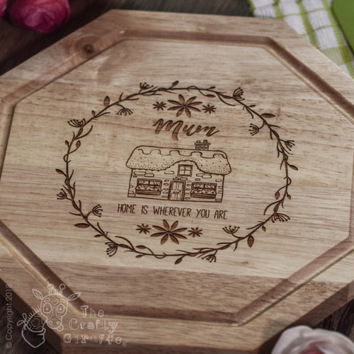 Buy Personalised - Home is wherever you are (vine) board From The Crafty Giraffe, the home of unique and affordable gifts for loved ones...