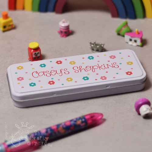 Personalised Flowers Pencil Tin.