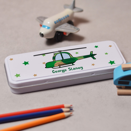 Personalised Helicopter Pencil Tin - The Crafty Giraffe