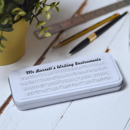 Buy Personalised Music Pencil Tin From The Crafty Giraffe, the home of unique and affordable gifts for loved ones...
