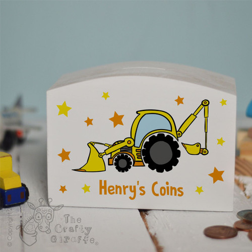 Personalised Digger Money Box
