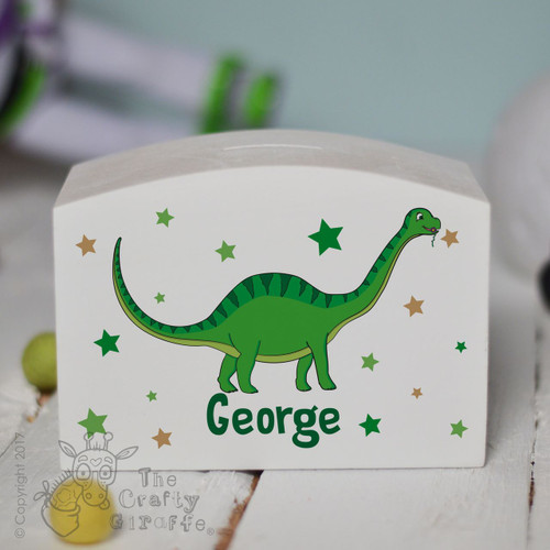 Personalised Green Dinosaur Money Box