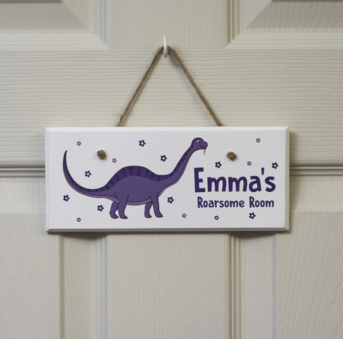 Personalised Purple Dinosaur Sign