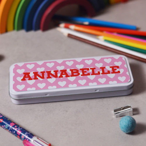 Buy Personalised Hearts Pencil Tin From The Crafty Giraffe, the home of unique and affordable gifts for loved ones...