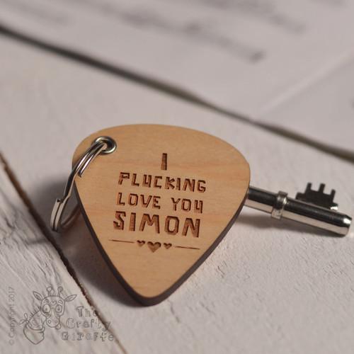 Personalised I Plucking Love You Pick Keyring