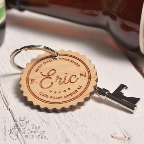 Personalised Best Dad Keyring and Bottle Opener