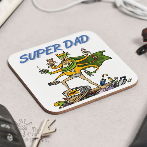 Personalised Super Dad Coaster