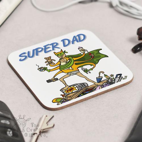 Personalised Super Dad Coaster