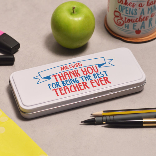 Buy Personalised Best Teacher Ever Pencil Tin From The Crafty Giraffe, the home of unique and affordable gifts for loved ones...