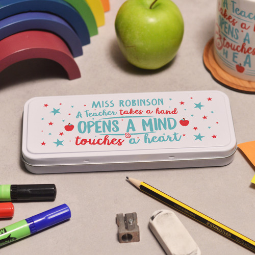 Buy Personalised A teacher takes a childs hand Pencil Tin From The Crafty Giraffe, the home of unique and affordable gifts for loved ones...