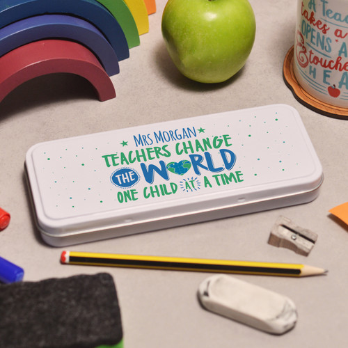 Buy Personalised Teachers change the world Pencil Tin From The Crafty Giraffe, the home of unique and affordable gifts for loved ones...