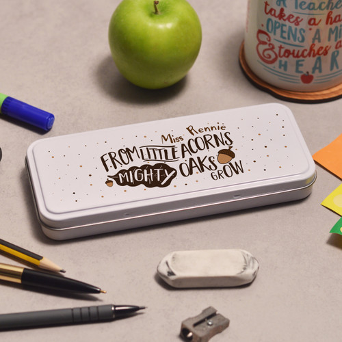 Buy Personalised From Little Acorns Mighty Oaks Grow Pencil Tin From The Crafty Giraffe, the home of unique and affordable gifts for loved ones...