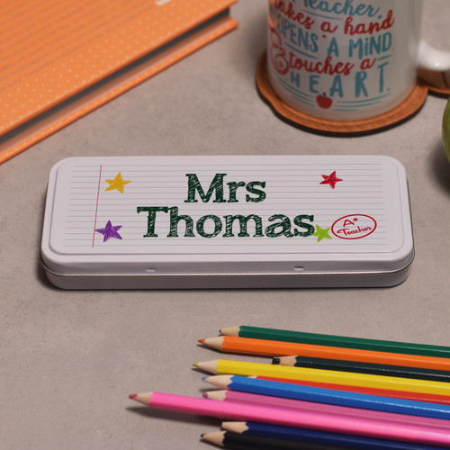 Buy Personalised Teacher Pencil Tin From The Crafty Giraffe, the home of unique and affordable gifts for loved ones...