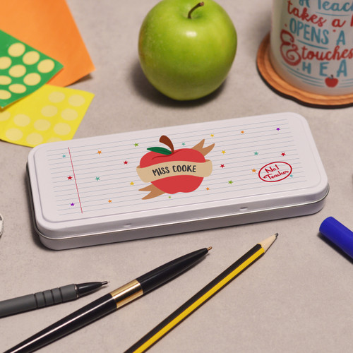 Buy Personalised Apple Teacher Pencil Tin From The Crafty Giraffe, the home of unique and affordable gifts for loved ones...