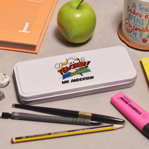 Buy Personalised I'm a teacher what's your superpower Pencil Tin From The Crafty Giraffe, the home of unique and affordable gifts for loved ones...