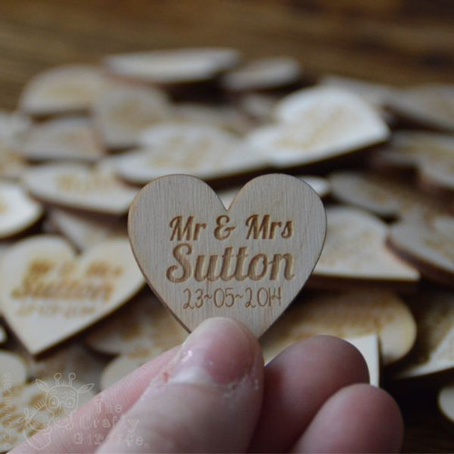 Personalised Heart Wedding Favours x 10 - The Crafty Giraffe