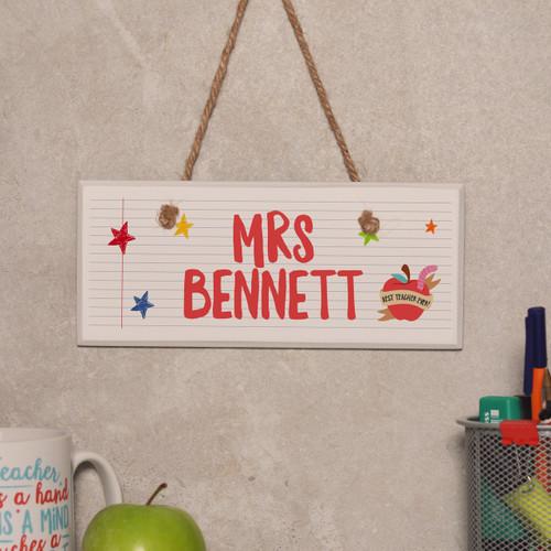 Personalised Teacher Name - Best teacher apple Sign - The Crafty Giraffe