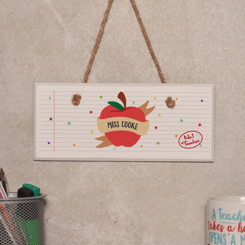 Personalised Apple Teacher Sign - The Crafty Giraffe