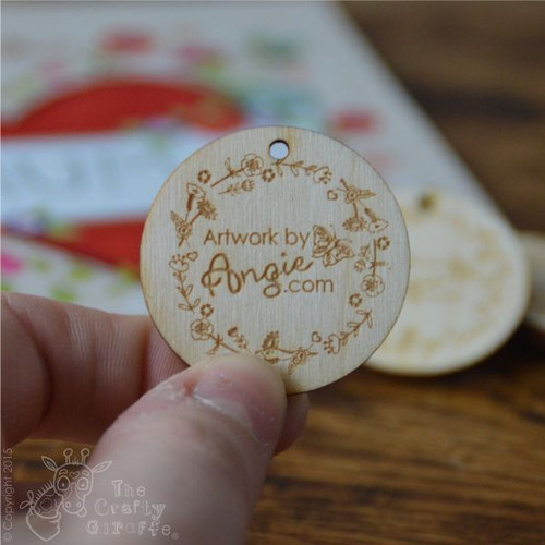 Business Logo Wooden Tag x 10