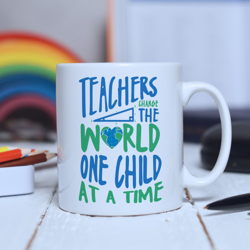 Buy Personalised Teachers change the world one child at a time Mug From The Crafty Giraffe, the home of unique and affordable gifts for loved ones...