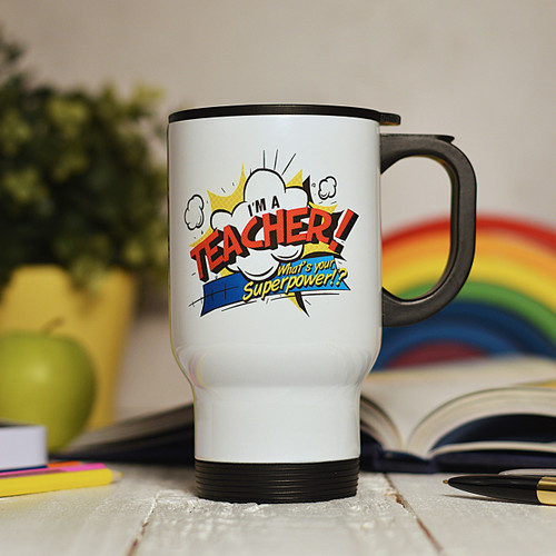 Buy Personalised I'm a teacher what's your superpower Travel Mug From The Crafty Giraffe, the home of unique and affordable gifts for loved ones...