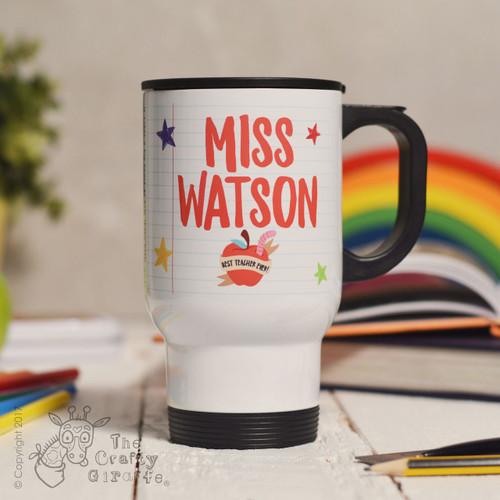 Personalised Teacher Name - Best teacher apple Travel Mug