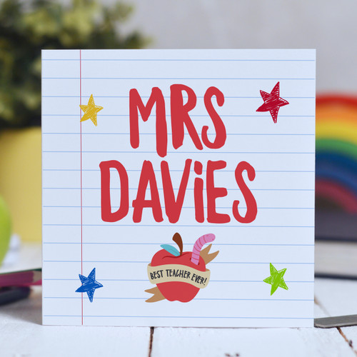 Buy Personalised Teacher Name - Best teacher apple Card From The Crafty Giraffe, the home of unique and affordable gifts for loved ones...