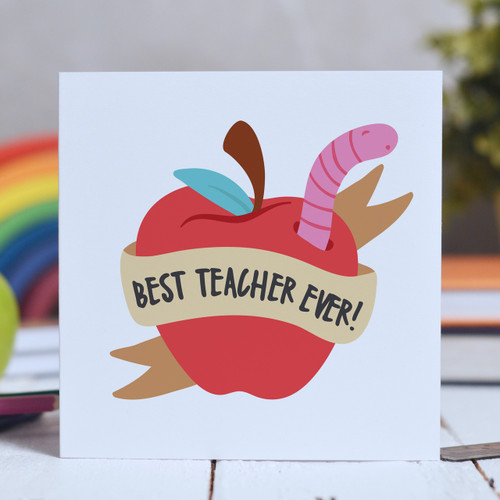Buy Best teacher ever - apple Card From The Crafty Giraffe, the home of unique and affordable gifts for loved ones...