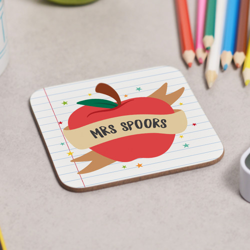 Personalised Apple Teacher Coaster - The Crafty Giraffe