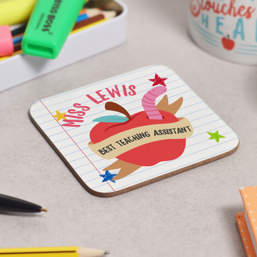 Personalised Best Teaching Assistant Coaster - The Crafty Giraffe