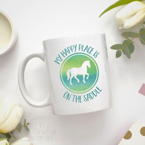 Personalised Mug - My happy place is on the saddle