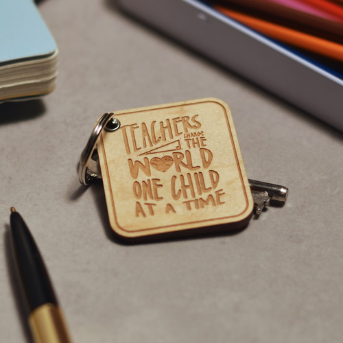 Buy Teachers change the world Keyring From The Crafty Giraffe, the home of unique and affordable gifts for loved ones...