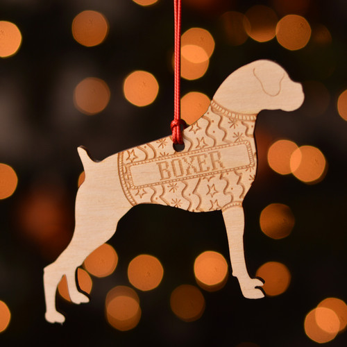 Personalised Boxer Dog Pet Decoration - Short Tail - The Crafty Giraffe