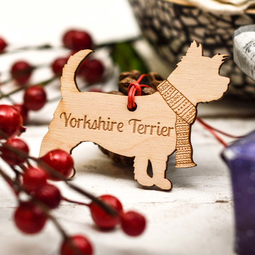 Personalised Yorkshire Terrier Dog Decoration - Long Tail