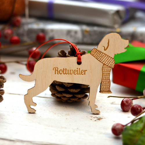 Personalised Rottweiler Dog Pet Decoration - Long Tail - The Crafty Giraffe