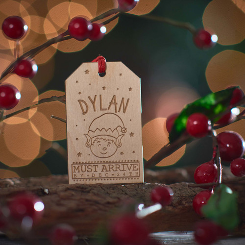 Personalised Large Present Gift Tag - Elf