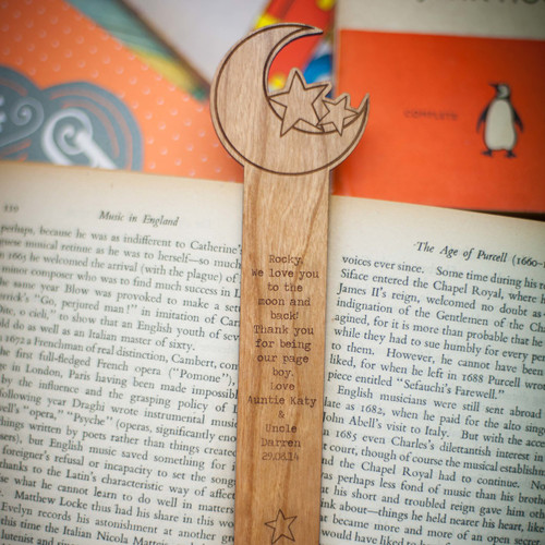 Personalised Moon and Stars Bookmark
