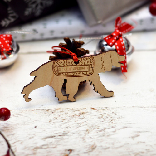Personalised Working Springer Spaniel Dog Pet Decoration - Short Tail - The Crafty Giraffe