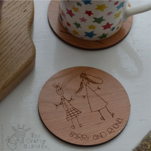 Personalised Child's Drawing Coaster x 2
