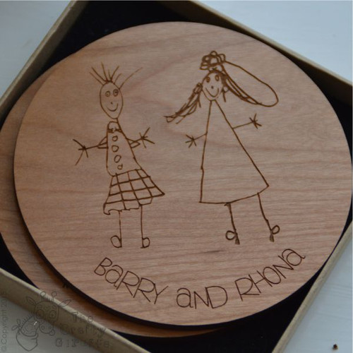 Personalised Child's Drawing Coaster x 2 - The Crafty Giraffe